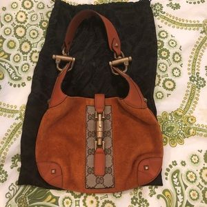 New never used vintage Gucci orange suede purse